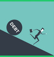 businessman runs away from big debt vector image vector image