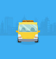 cars on city panorama taxi service yellow vector image vector image