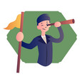 cartoon boy with telescope on white background vector image vector image