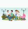 cartoon happy homosexual couples together in park vector image vector image