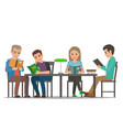cartoon people at table read books library room vector image vector image