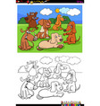 dogs and puppies characters group color book vector image vector image
