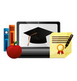 elearning laptop with hat graduation and books vector image
