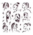 Fashion girl Hand drawn Portrait vector image vector image