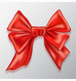 festive bow red satin isolated on checkered vector image vector image