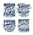 fishing sport t-shirt prints set emblems vector image vector image
