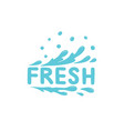 fresh icon blue spray water splash drop vector image