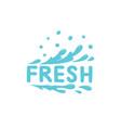 fresh icon blue spray water splash drop vector image vector image