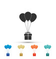 gift box with balloons icon on white background vector image vector image