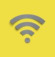 grey paper stile wifi icon on yellow trendy vector image