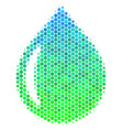 halftone blue-green drop icon vector image