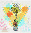hand drawing champagne bottle with splash vector image vector image