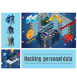 isometric hacker activity colorful composition vector image vector image