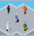 isometric person set of businesswoman cleaner vector image vector image