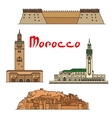 Morocco historic landmarks and sightseeings vector image vector image