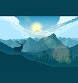 mountains landscape with deer on the hills lake vector image