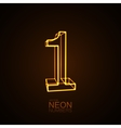 Neon 3D number 1 vector image vector image