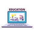 online education concept with laptop vector image vector image