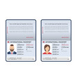 open international passports id blank male and vector image