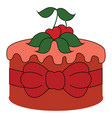 red cake with cherry on white background vector image vector image
