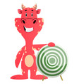 red dragon is holding target on white background vector image vector image