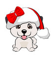 red-haired happy dog in a red jacket with a white vector image vector image