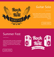 rock roll forever and summer fest set of banners vector image vector image