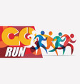 running people set stylized silhouettes sport vector image vector image
