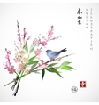 Sakura in blossom bamboo branch and blue bird vector image vector image