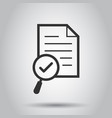 scrutiny document plan icon in flat style review vector image vector image