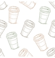 Seamless pattern scetch of coffee to go vector image vector image