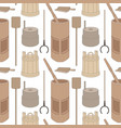 seamless pattern with old russian kitchen utensils vector image