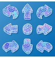 set blue and white doodle ornate arrows vector image vector image
