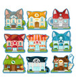 set cute colorful houses in style cats vector image
