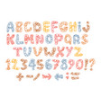 sketch childish alphabet with cartoon letters vector image vector image