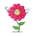 successful pink flower character cartoon vector image vector image