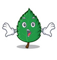 surprised mint leaves mascot cartoon vector image vector image