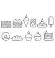 sweets and junk food line icon set vector image