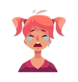 Teen girl face crying facial expression vector image vector image