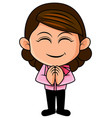 thai woman is greeting in called sawasdee vector image vector image