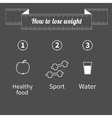 Three step weight loss infographic Healthy food vector image vector image