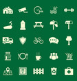 village color icons on green background vector image vector image