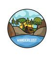 wanderlust adventure logo hiking emblem design vector image vector image