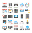 web hosting coloured icons set vector image vector image