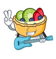 with guitar fruit tart mascot cartoon vector image