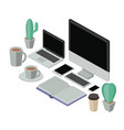 workplace elements isometrics icons vector image