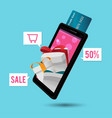 smart phone mobile credit card gift vector image