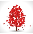 Valentine tree with red falling hearts for your vector image