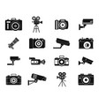 camera icon set simple style vector image
