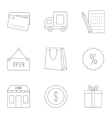 Purchase in shop icons set outline style vector image
